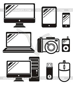 Digitale Geräte in schwarzer Farbe icons set - Vektor-Clipart / Vektorgrafik