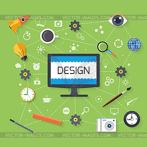 Web-Design und Entwicklungskonzept - Vector Clip Art