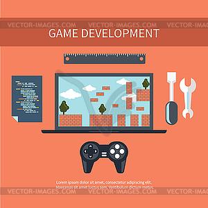 Spiel Entwicklungskonzept - vektorisiertes Bild