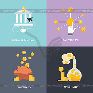 Internet-Banking, Geld verdienen, Geld sparen - Vector-Clipart / Vektor-Bild