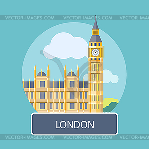 Big Ben und Westminster Bridge, London, UK - farbige Vektorgrafik