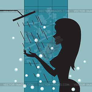 Schattenbild des schönen Mädchens Dusche - Vektor-Clipart EPS