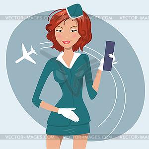 Mädchen in Stewardess einheitliche - Vector-Clipart EPS