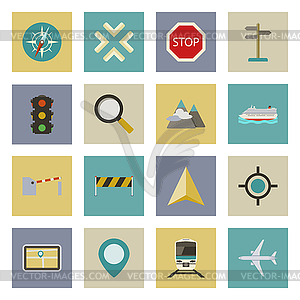 GPS und Navigation flachen Icons Set - Clipart-Design