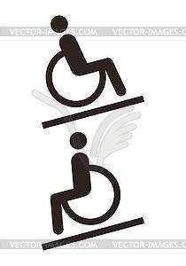 Untaugliches Zeichen - Behindertengerechte - Royalty-Free Clipart