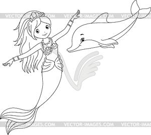 Meerjungfrau und Delphin Malvorlagen - Stock Vektor-Bild