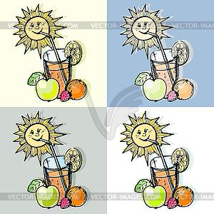 Glas Fruchtsaft und Sonne - vektorisiertes Design