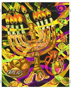 Jüdischen Feiertag Chanukka - Vector-Bild