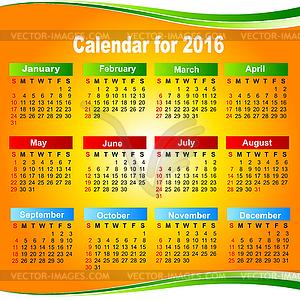 Европейский календарь 2016 - изображение векторного клипарта.