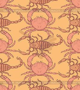 Skizze Krabben und Skorpion im Vintage-Stil - Vektor-Clipart / Vektor-Bild