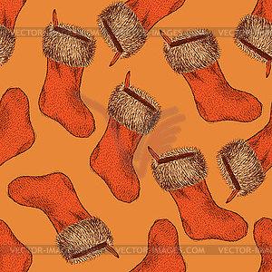 Sketch Weihnachts-Strumpf im Vintage-Stil - vektorisiertes Design