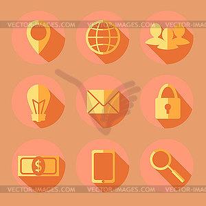Flache Business-Symbole - vektorisiertes Bild