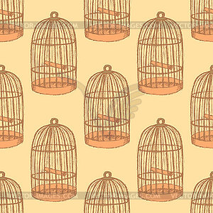 Skizze Vogelkäfig im Vintage-Stil - Vector-Clipart / Vektor-Bild