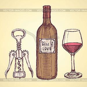 Sketch Weinset im Vintage-Stil - Vector-Clipart / Vektor-Bild