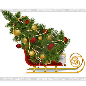 schlitten mit weihnachtsbaum royalty free vektor clipart. Black Bedroom Furniture Sets. Home Design Ideas