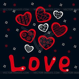 Gezeichnete Postkarte mit roten und weißen Herzen und Wort - Vector-Clipart / Vektor-Bild