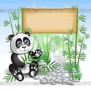 Panda Bambus - Vector-Clipart