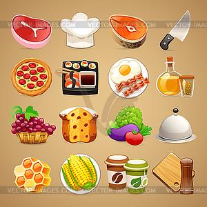 Essen und Küche Zubehör Icons Set1. - Vektor-Clipart / Vektor-Bild