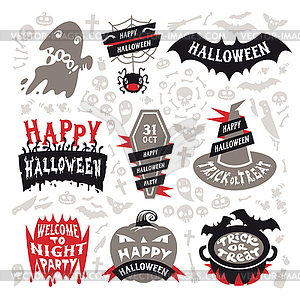 Halloween Labels Set - Vektor Clip Art