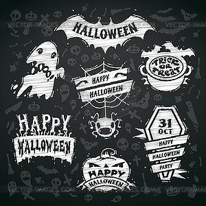 Kreide auf Tafel Labels Halloween Hintergrund - Vektorgrafik