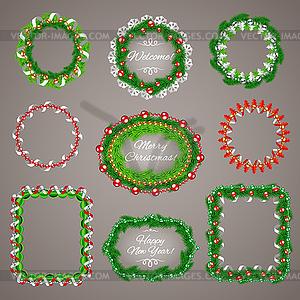 Weihnachtsgirlanden Rahmen mit Textfreiraum Set - Vector-Illustration