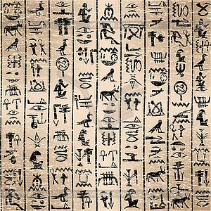 Ägyptische Hieroglyphen-Grunge-Hintergrund - Vektor-Clipart EPS
