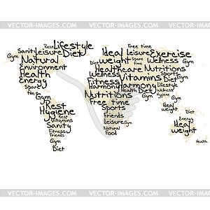 Typografie mit gesunden Lebens Begriffe - Royalty-Free Clipart
