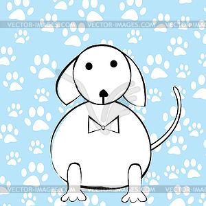Lustigen Comic-Hund über die Pfoten Hintergrund - Vector-Illustration
