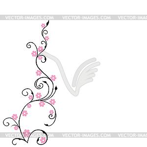 Blumenhintergrund, Laub mit rosa Blumen - Vektor-Skizze
