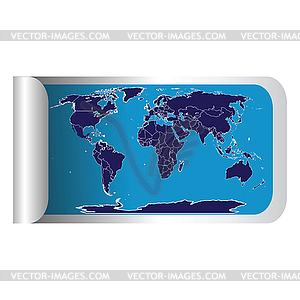 Frische Label-Stick mit blauen Weltkarte - Vektor-Skizze