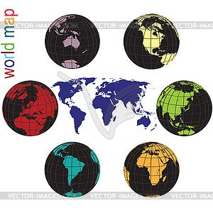 Set von Erde Globen und Weltkarte in allen Farben - Vector-Clipart EPS