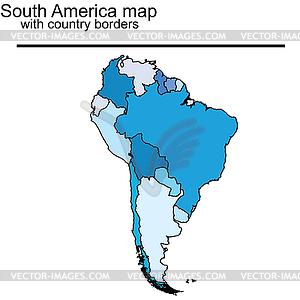 Karte Südamerika mit Ländergrenzen - Stock Vektor-Clipart