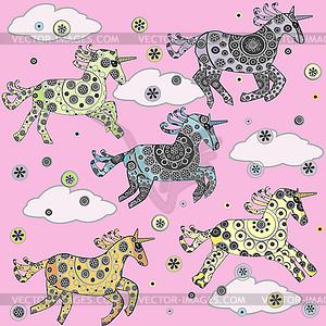 Hintergrund mit Cartoon Einhörner für kleine Mädchen - Vektorgrafik-Design
