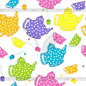 Cartoon Wasserkocher und Tee-Tassen - vektorisiertes Design