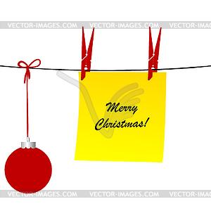 Weihnachten mit Blatt Papier und Weihnachten bal - Vektor-Skizze