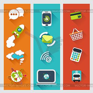 Satz flacher Design-Konzepte für die Geschäftsstrategie - Vektorgrafik-Design
