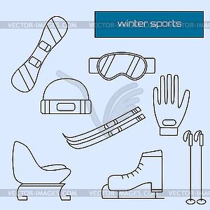 Wintersportgeräte Flach Ikonen-Sammlung - Stock Vektorgrafik