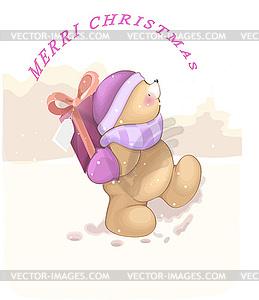 Tragen mit einem Geschenk in einer Mütze und einem Schal in den - Vektor-Clipart / Vektorgrafik