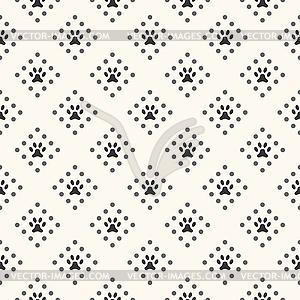 Nahtlose Tier Muster von Pfote Fußabdruck und Punkt - vektorisiertes Bild