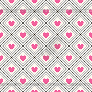 Nahtlose geometrische Muster mit Herzen - Vektor-Clipart / Vektorgrafik