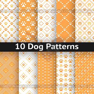 Set Hunde nahtlose Muster - Vektor-Clipart / Vektor-Bild