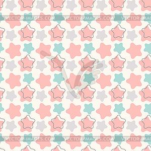 Abstrakte geometrische Retro-Sterne nahtlose Muster - farbige Vektorgrafik