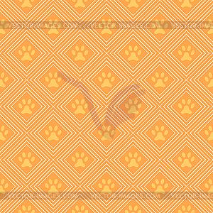 Tier nahtlose Muster der Pfote Stellfläche und Linie - farbige Vektorgrafik