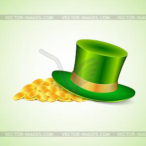 Hintergrund mit grünen Hut und Gold - Vektor-Clipart / Vektor-Bild