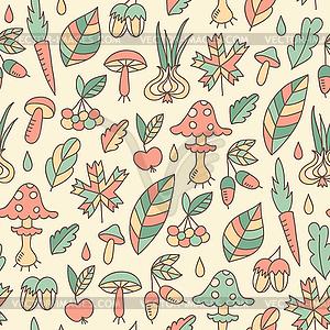 Herbst nahtlose Muster mit Pilzen - vektorisiertes Clip-Art