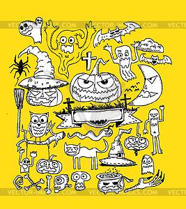 Happy Halloween-Thema und Halloween-Hintergrund - Vektor-Skizze