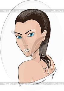 Porträt der jungen Mädchen in Spa entspannt - Vector-Illustration