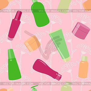 Helle nahtlose Muster mit Kosmetik-Flaschen - Vector-Clipart / Vektor-Bild