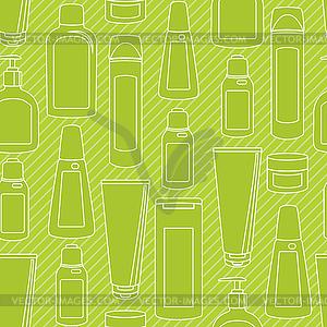 Nahtlose Muster mit Kosmetik-Flaschen - vektorisiertes Design