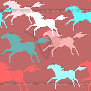 Laufende Pferde nahtlose Muster - Stock Vektorgrafik